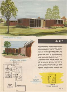 LD 217 - Small Homes Council Research Designed Homes Modern Floor Plans, Modern House Plans, Small House Plans, Modern House Design, Modern Garage, Modern Houses, Tiny Houses, Ultra Modern Homes, Mid-century Modern