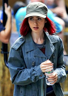 Lily Collins on set of her new movie Okja in New York City on July 24th