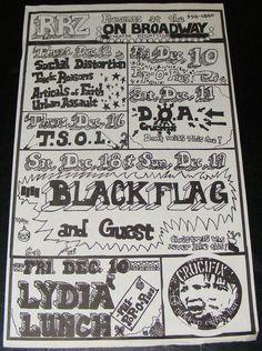 Vintage original 1982 hardcore SF punk flyer Black Flag Social Distortion