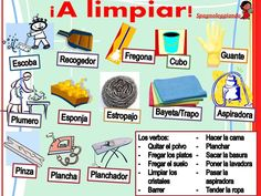 A limpiar! Vocabulario de casa ✿ Spanish Learning/ Teaching Spanish / Spanish Language / Spanish vocabulary / Spoken Spanish ✿ Share it with people who are serious about learning Spanish!