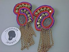 Purple Orange and Pink Soutache Chandelier Post by tyramade, $50.00