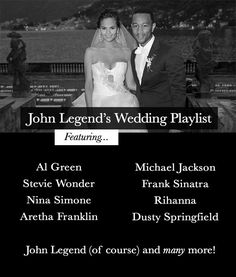 John Legend& wedding playlist could be the ultimate R n& B & Soul wedding playlist! Featuring songs by Aretha Franklin, Stevie Wonder and many more! Wedding Dinner Music, Wedding Dj, Wedding Reception, Dream Wedding, Wedding Shot, Budget Wedding, Wedding Stuff, Wedding Ceremony Music, Best Wedding Songs