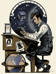 """""""Daydreaming Doctor"""" by BadEye. Doctor Who in the style of Norman Rockwell Poster Doctor Who, Doctor Who 10, 10th Doctor, Doctor Who Fan Art, Dr Who, Geeks, Sherlock, Zero Wallpaper, Geeky Wallpaper"""