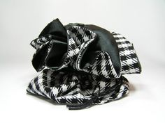 Black and White Houndstooth with Black Satin by NoMineBoutique
