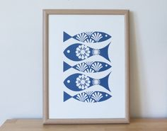Nouveau Fish Screen Print Wall Art Scandinavian by FranWoodDesign