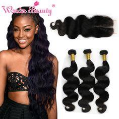 Malaysian Virgin Human Hair Body Wave 3Bundles With Closure 8''-30'' Bundle Deals Extensions Cheap Human Hair With Closure Piece