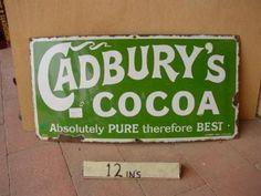 Vintage Cadburys cocoa enamel sign 15x30ins