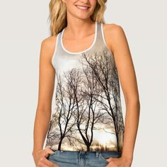 Autumn trees under cloudy sky tank top. #elegant #girly #modern #photograph