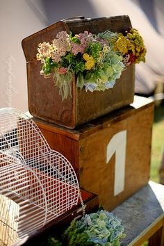 ♥ old suitcase with flowers