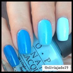 Polishes: OPI Ogre The Top Blue, OPI No Room For The Blues, OPI What's With The Cattitude?, Picture Polish Sky