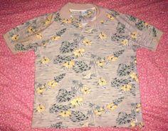 OP SPORT Yellow Green Beige Hawaiian Floral Short Sleeve Polo Shirt Sz M Men VGC #OPSport #PoloRugby