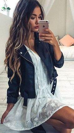Rocker Chic Biker Jacket + Little White Lace Dress                                                                             Source