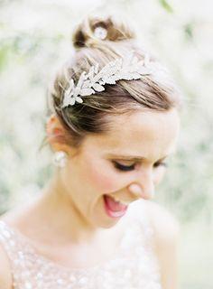 Jennifer Behr Arielle headband... photo by Jen Huang :: bridal hair :: bride :: hair accessory :: up do :: bun :: wedding ::