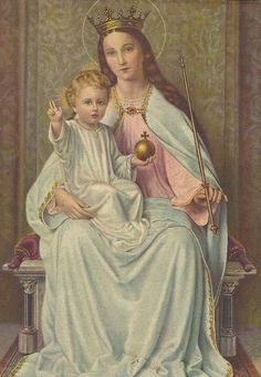Mother Mary with the child Jesus. Religious Pictures, Religious Icons, Religious Art, Blessed Mother Mary, Blessed Virgin Mary, Catholic Art, Catholic Saints, Roman Catholic, Vintage Holy Cards