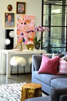Feminine living room. Pink pillows. Gallery wall. Mimosa Lane: One Room Challenge || Week 6 - The Reveal