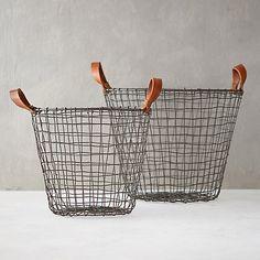 Leather Handle Iron Basket