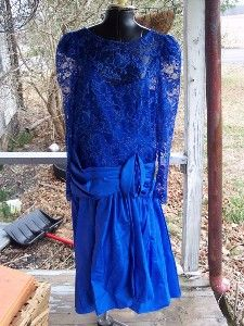 Vintage 1980's Sapphire Blue satin and lace-Mom is this your bridesmaid dress??
