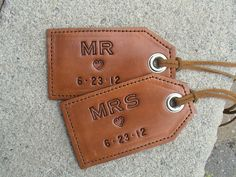 His and Hers Wedding - Anniversary - MR. Leather luggage tags - set of 2 Wedding Anniversary Gifts, Wedding Gifts, Wedding Ideas, Wedding Tags, Anniversary Ideas, Engagement Gifts For Her, Leather Luggage Tags, Custom Luggage Tags, Honeymoon Gifts