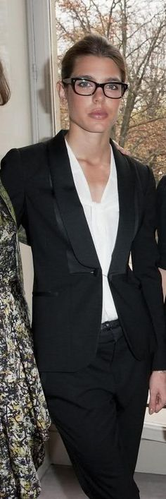 Love the le smoking layered with a soft white blouse. Grace Kelly's grand daughter Charlotte.