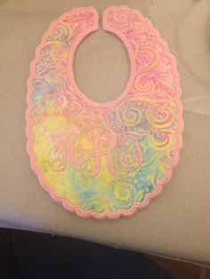 In the hoop bib.   Too cute!  Design from Swakembroidery.  Thanks
