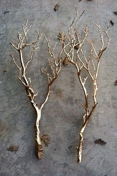 Glitter branches Gather fallen branches and coat in glitter or metallic paint - bringing the outdoors in is a huge trend right now and it's an amazing way to transform a space.