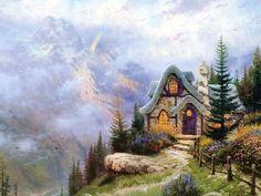 Thomas Kinkade Sweetheart Cottage Iii Wallpaper 1024x768