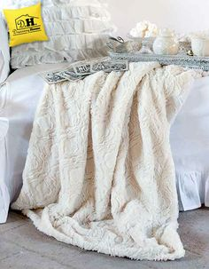 Plaid Shabby Chic Stay warm Blanc Mariclo Colore Naturale