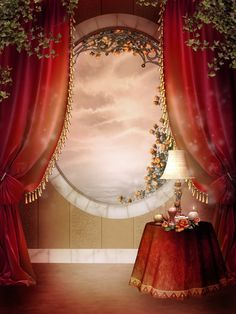 Illustration about Victorian bedroom with red curtains and green ivy. Illustration of window, background, yellow - 18667267 Fantasy Background, Studio Background Images, Photo Background Images, Wedding Background, Victorian Curtains, Victorian Bedroom, Wedding Album Design, Red Curtains, Bedroom Curtains