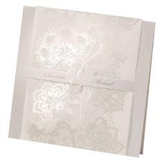 """Einladungskarte """"Johanna"""" - Edle cremefarbene Karte zur Hochzeit mit Blütenornamenten"""