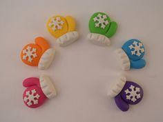 Polymer Clay Beads or Bow Centers - Snowflake Mittens. $6.00, via Etsy.