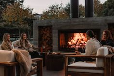 Modern Outdoor Fireplace, Outdoor Fireplaces, New Twin Peaks, Stainless Steel Paint, Chimney Cap, New Zealand Landscape, Bbq Kitchen, Wood Storage Box, Polished Concrete