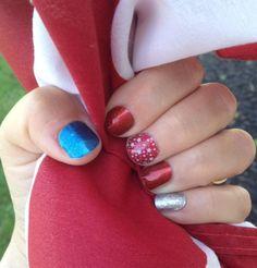 4th of July nails!  #independenceday #4thofjuy #nails #diynails #diynailart #nailart #jamberry #borntosparklejn #sapphirebluesparklejn #redsparklejn #diamonddustsparklejn