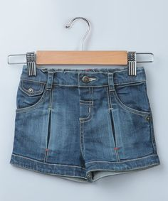Love this Denim Blue Pleated Shorts - Infant & Toddler by Beebay on #zulily! #zulilyfinds