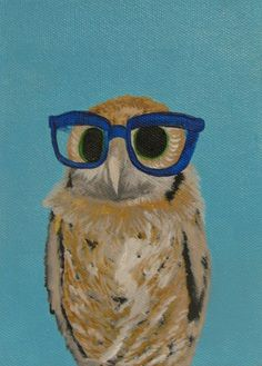 brown owl in blue glasses by Carly Rice