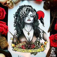 Bellatrix Lestrange Helena Bonham Carter Harry Potter Art Poster Tattoo Flash Print size is A4 - 21x30 cm or 8,2x12 inches. Its A4 international paper size. Printed on premium matte paper. All arts are made by me. My instagram: instagram.com/by_redselena