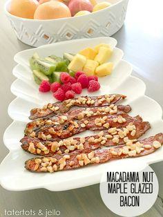 Crispy Macadamia Nut Maple Glazed Bacon. Crispy bacon that's perfect for brunch!