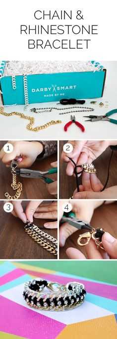 Step-by-Stpes for Chain and Rhinestone Bracelet designed by @I Spy DIY