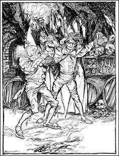 "Arthur Rackham, illo for Poe's ""Cask of Amontillado"""