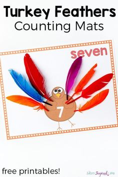 Turkey Counting Mats with Free Printables Turkey counting mats for Thanksgiving. Practice counting, adding and subtracting with this fun Thanksgiving math activity. Thanksgiving Activities For Kids, Thanksgiving Preschool, Fall Preschool, Preschool Lessons, Preschool Activities, Preschool Printables, Holiday Activities, Thanksgiving Ideas, Harvest Activities