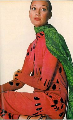 Marisa Berenson in a watermelon dress.  Photo by Irving Penn, 1970.