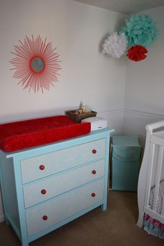 White, Turquoise, and Red Nursery - Project Nursery Red Nursery, Baby Nursery Decor, Project Nursery, Nursery Neutral, Nursery Ideas, Bedroom Red, Kids Bedroom, Bedroom Ideas, Girly