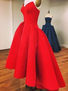 Buy Elegant V-neck Strapless Hi Low Red Homecoming Dress Ruched 2016 Homecoming…
