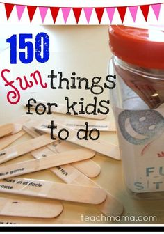 These fun sticks with 150 things for kids to do are sure to help beat the winter and boredom blues! These ideas will have your kids up and moving and having fun in no time! #teachmama #winterblues #kidsactivities #rainydayactivities #boredombusters #funactivities #boredom #funforkids