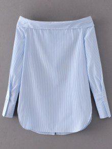 Off Shoulder Floral Stripe Shirt Dress