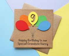 9th birthday card Colourful Balloon birthday card ANY AGE | Etsy Happy Birthday Grandson, Happy Birthday Name, 14th Birthday, Special Birthday, Baby Girl Cards, New Baby Cards, Your Cards, Handmade Birthday Cards, Greeting Cards Handmade
