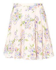 Shell Pink (Pink) Shell Pink Floral Print Pleated Skater Skirt | 309915672 | New Look