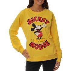 Disney Mickey Juniors' Raglan Sweatshirt, Size: Large, Yellow