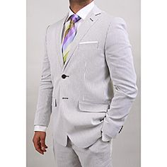 Olive Pin Stripe Cotton 2-button Suit