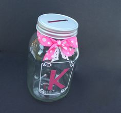 Glass coin slot mason jar bank with framed initial by MyKindofKrafty, $12.00
