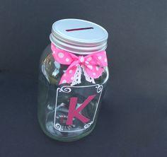 Glass coin slot mason jar bank with framed initial by MyKindofKrafty, $12.00